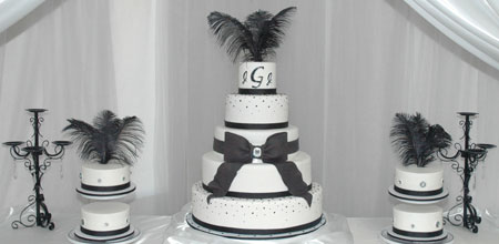 Black and White Wedding Cakes with Rhinestones