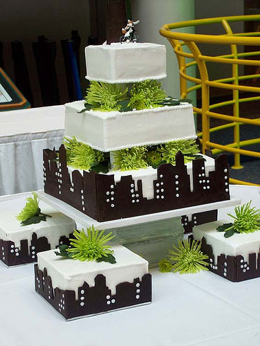 Black and White and Green Wedding Cakes