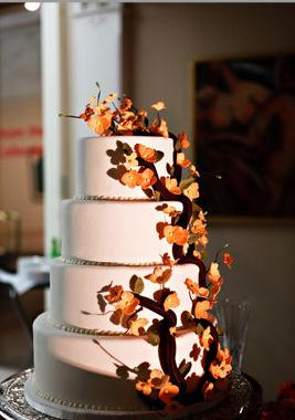 Fall Wedding Cakes with Branches