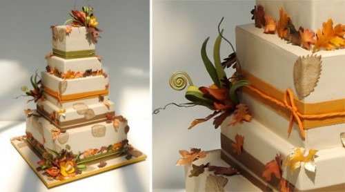 Fall Wedding Cakes with Flowers