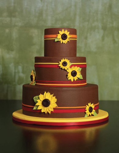 Chocolate Sunflower Wedding Cakes