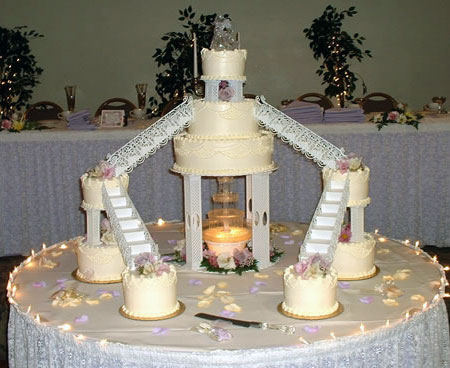 Fountain Wedding Cakes Stairs