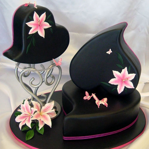 Heart Shaped Wedding Cakes with Butterflies
