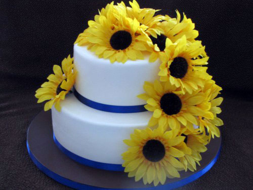 Simple Sunflower Wedding Cakes