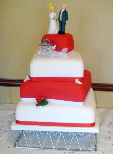 Square Red and White Wedding Cakes