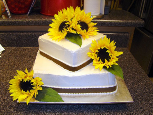 Square Sunflower Wedding Cakes