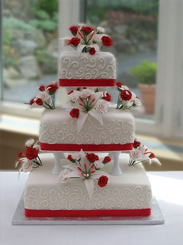 Unique Red and White Wedding Cakes