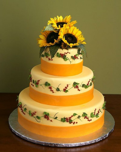 Yellow Sunflower Wedding Cakes