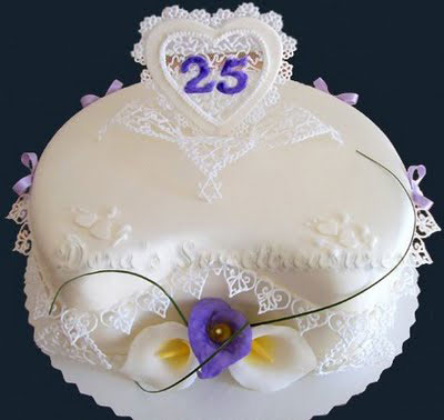25th Wedding Anniversary Cakes Design