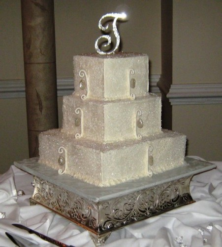 White Bling Wedding Cakes