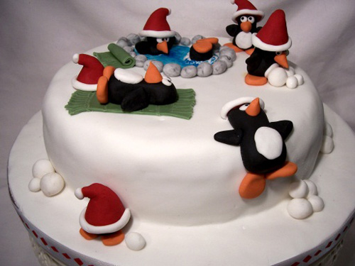 Christmas Cake Design Penguin