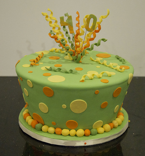 Green Festive Birthday Cake