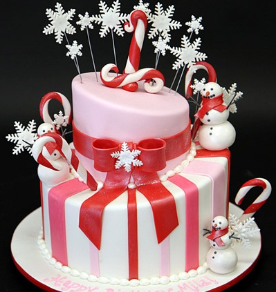 Red Festive Birthday Cake